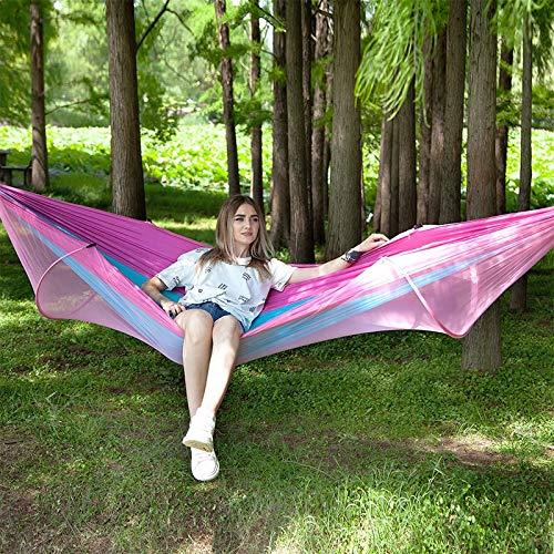 CaoXc1 Portable Camping en Plein air entièrement Automatique en Nylon Parachute hamac avec moustiquaire, Taille: 290 x140cm (Camouflage) (Color : Pink Blue)