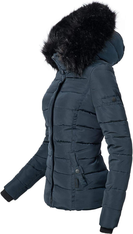 Navahoo Giacca Trapuntata Invernale da Donna con Cappuccio in Pelliccia Sintetica Miamor XS-XXL