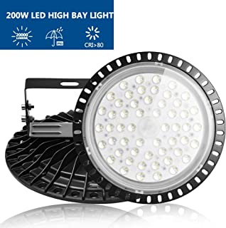 Viugreum 200W UFO LED High Bay Light, 20000LM 6000K-6500K Daylight White Ultra Thin LED Warehouse Lighting, IP65 Waterproof Commercial Bay Lighting for Garage Barn Workshop Gym, Fast Shipping from USA