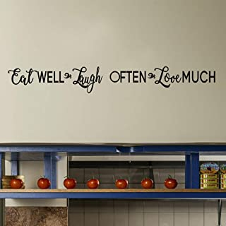 TOARTi Eat Well Laugh Often Love Much Inspirational Quotes Wall Decal, Motivational Saying Decal, Family Warm Sticker for Kitchen Living Room Home Decor