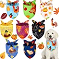 8 Pieces Thanksgiving Dog Bandanas Fall Pumpkin Pet Scarf Triangle Scarf Pet Adjustable Washable Dog Bib for Thanksgiving Pet Costume Supply