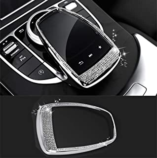 TopDall Bling Crystal Interior Media Control Emblem Cover for Mercedes Benz