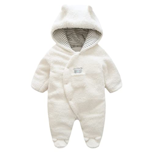 4YrsUK Toddler Baby Baby Kids Winter Warm Hooded Romper Fleece Boy Girl Snowsuit Winter Bodysuit Outfit Navy Size 12Months