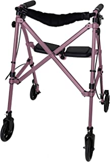 Able Life Space Saver Rollator, Lightweight Folding 4 Wheel Rolling Walker for Seniors with Compact Travel Seat and Locking Brakes, Regal Rose