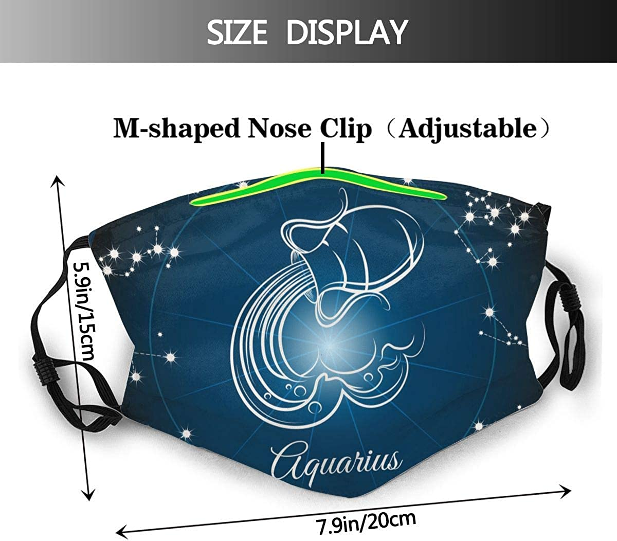 Zodiac Sign Aquarius Cloth Face Mask With Filter Pocket Reusable Face Bandanas Balaclava Washable Breathable Fabric Mask With 2 Pcs Filters