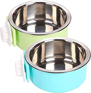 YEIRVE Crate Dog Water Bowl, Removable Stainless Steel Food Hanging Bowl, Pet Puppy Food Water Bowl for Cat, Dog,Puppy, Bi...