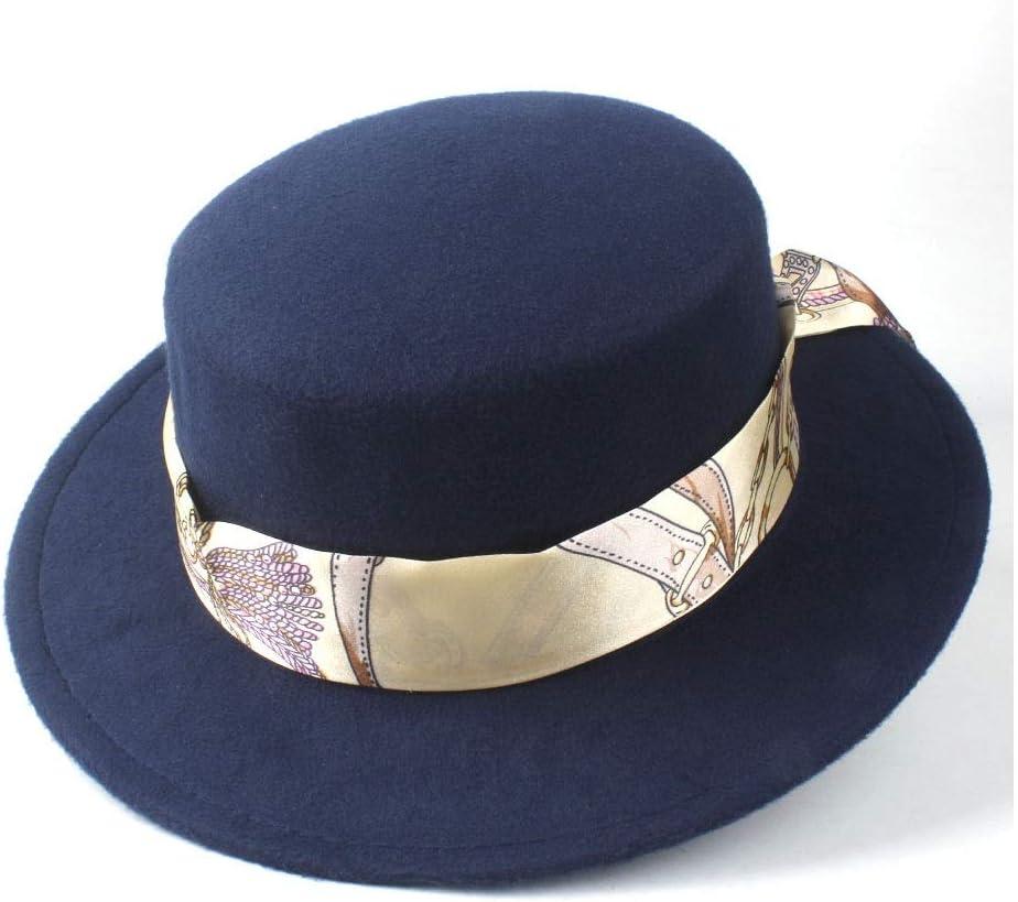 LIRRUI Men Women Autumn Winter Flat Top Hat Panama Hat Outdoor Travel Jazz Fedora Hat Size 56-58CM (Color : Dark Blue, Size : 56-58)