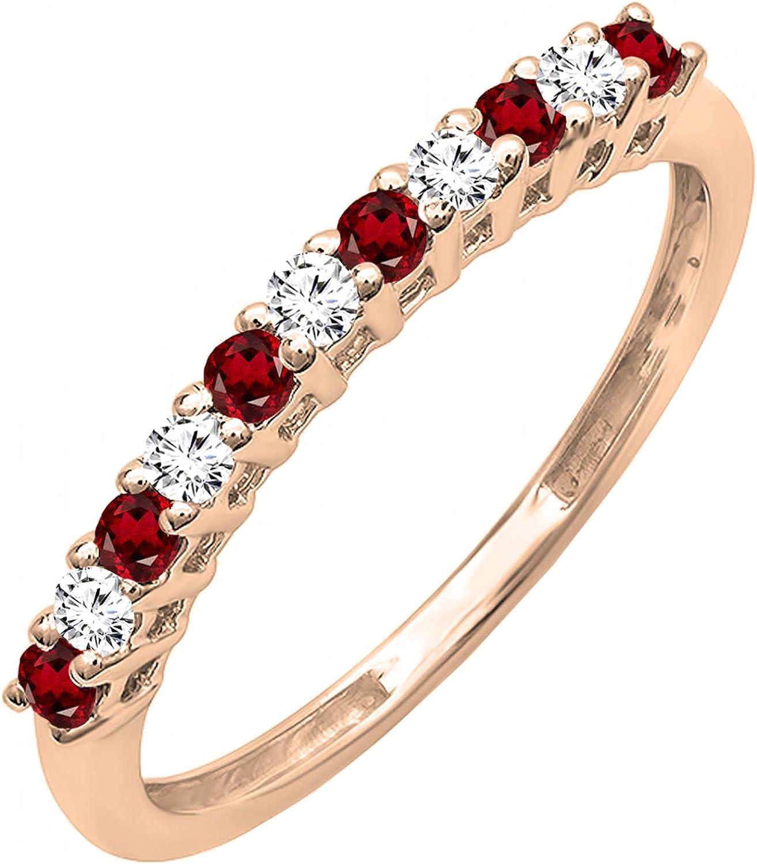 18K Gold Round Garnet & White Diamond Anniversary Stackable Wedding Band