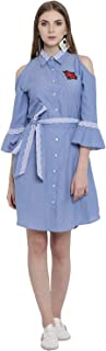 Lady Stark Light Blue Color Cotton Dress with Shirt Collar Neck for Women