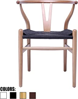 2xhome Natural Wishbone Wood Armchair with Arms Open Y Back Open Mid Century Modern Contemporary Office Chair Dining Chairs Woven Black Seat Living Desk Office