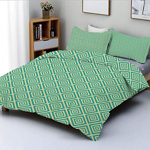 Juego de funda nórdica, cuadrados anidados Diseño geométrico contemporáneo Impresión simétrica de azulejos Decorativo Juego de cama de 3 piezas decorativo con 2 fundas de almohada, turquesa y amarillo