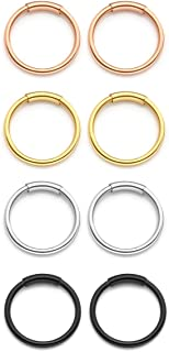 PiercingJ 8pcs Mixed Color Stainless Steel 20G 8mm 10mm Hinged Clicker Seamless Nose Hoop Rings for Nose Ear Helix Cartilage Tragus Daith Septum Eyebrow Lip Body Piercing Jewelry