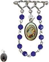 Gifts by Lulee, LLC Saint Rose of Lima Santa Rosa de Lima Silver Plated Lapel Pin Chaplet Glass Beads Blessed Holy Card