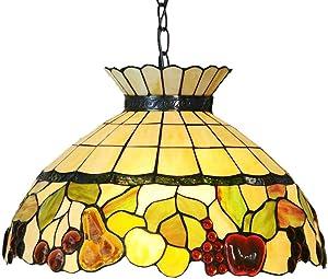 """Lampadario Stile Tiffany, Corona di Frutta Macchiato Vetro Lampada a Sospensione, Luce a soffitto Fatta a Mano, 18"""", E27"""