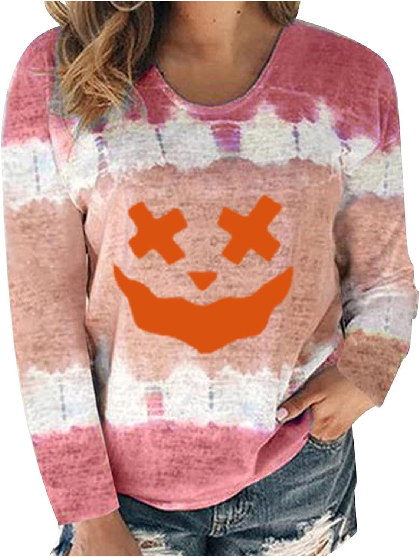 Womens Tops Long Sleeve Halloween Graphic Sweatshirt Casual Pullovers Hoodies Oversized