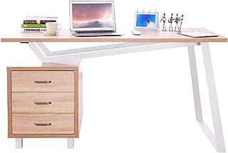 SixBros Computerschreibtisch Schreibtisch Bürotisch Eiche//Weiß CT-3556//2141
