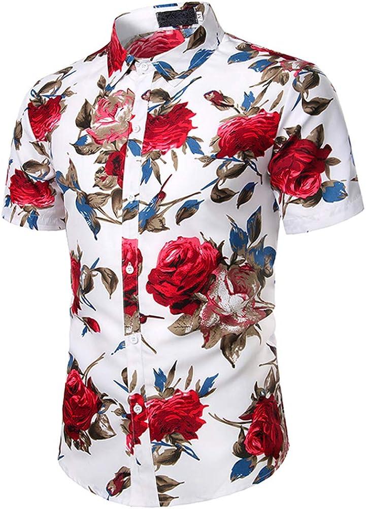 lisenraIn Men Short Sleeve Shirts Button Down Slim Fit Casual Florl Print Hawaiian Shirt