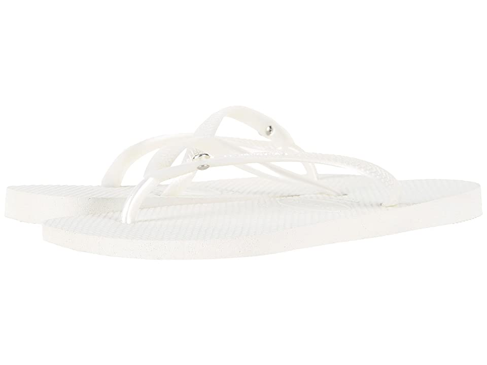 Havaianas Slim Crystal Glamour SW Flip Flops (White) Women