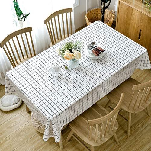 JXXDQ Imperméable Imprimé Nappe Ronde Couverture De Thé Table À Thé En Tissu Couverture Rectangulaire Tissu Décoration de La Maison (Color : White, Size : 137 * 190cm)
