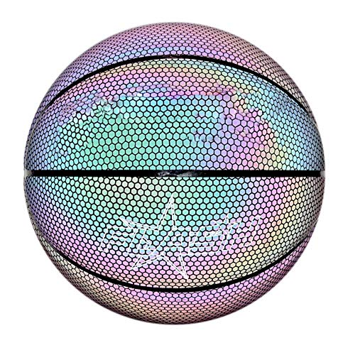 For Sale! Hapshop Holographic Glowing Reflective Basketball Lighted Glow Basketball Night Game Porta...