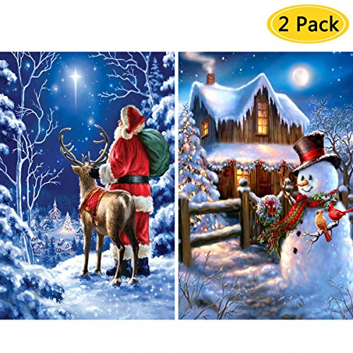 2 Pack DIY 5D Diamond Painting Kits,CCOZN Full Drill Christmas Santa Claus Snowman Rhinestone Diamond Painting for Beginner Adults Diamond Arts Home Wall Decor, 11.8 X 15.8inch