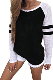 Womens Baseball Tee Long Sleeve Raglan Shirt Crew Neck Striped Tunics Casual Blouses Tops
