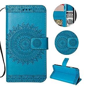 Sycode Hülle für iPhone 6S Plus 5.5″,Ledertasche für iPhone 6 Plus 5.5″,Totem Blumen Blau PU Leder Brieftasche für iPhone 6S Plus 5.5″/6 Plus 5.5″-Blau