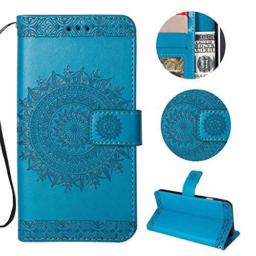Sycode Galaxy S9 Wallet Hülle,Galaxy S9 Ledertasche,Totem Blumen Blau PU Leder Brieftasche für Samsung Galaxy S9-Blau