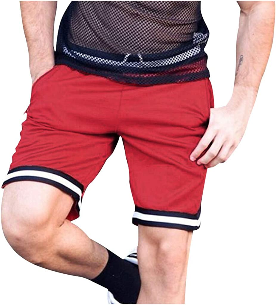 IHGTZS Shorts for Men, Men's Summer Casual Loose-Fitting Striped Beach Five-Cent Trousers