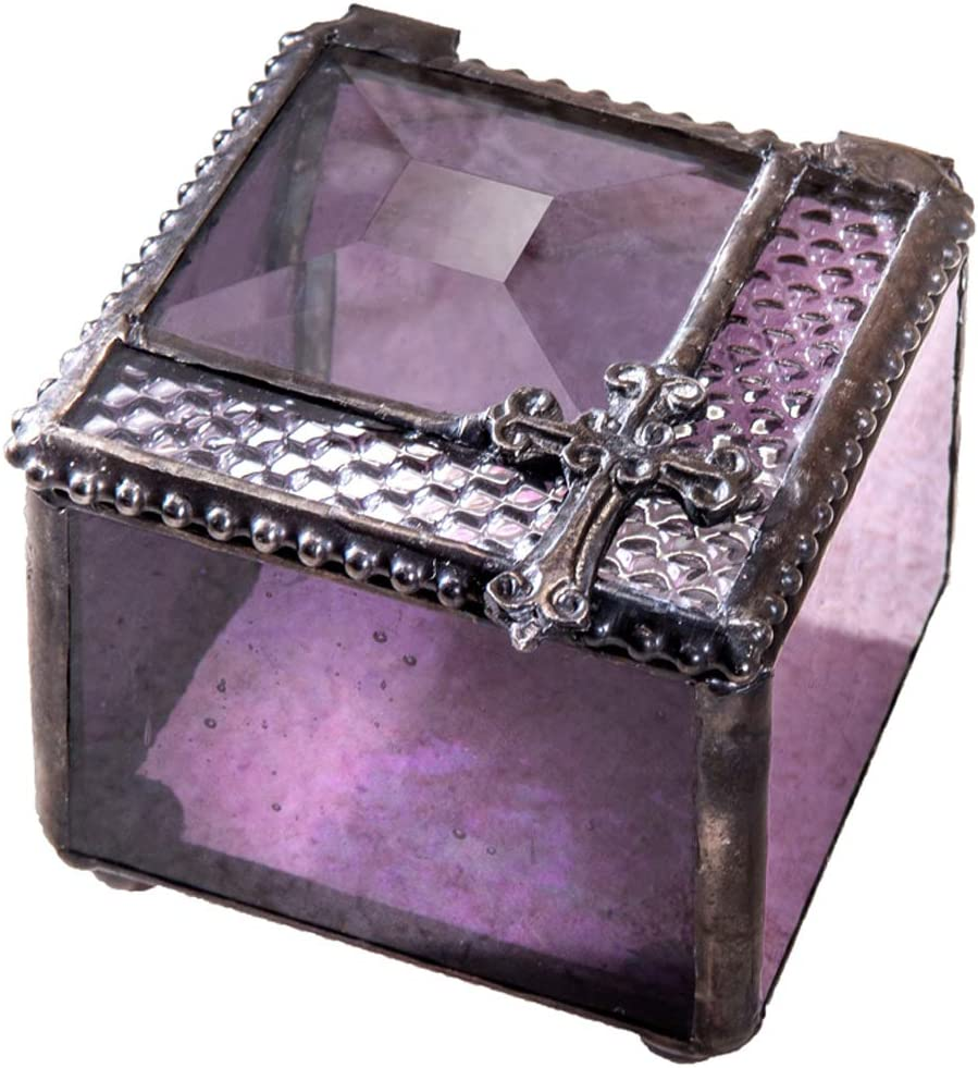 First Communion Gift Small Jewelry Box Stained Glass Religious Keepsake Prayer Christian Baptism Confirmation Rosary Case Trinket J Devlin Box 349-3