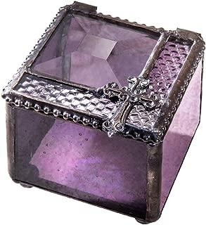 Small Purple Glass Box First Communion Gift Catholic Rosary Case Religious Keepsake Jewelry Ring Prayer Christian J Devlin Box 349-3
