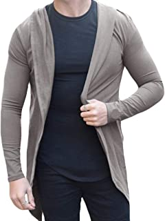 Mens Loose Long Sleeve Draped Lightweight Open Front Hooded Cardigan