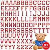 104 Pieces Iron on Letter Patches, Alphabet Applique Patches or Sew on Appliques with Embroidered Patch A-Z Letter Badge Decorate Repair Patches for Hats, Shirts, Shoes, Jeans, Bags (Red, 104 Pieces)