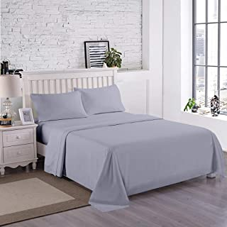 DIVINE CASA Brushed Microfiber Bed Sheet - 4 Piece Bed Sheets Set - 1 Flat Sheet, 1 Fitted Sheet and 2 Pillowcases - Extra Soft - Deep Pockets - Easy Fit Queen Size Sheets (Blue Grey, Queen)