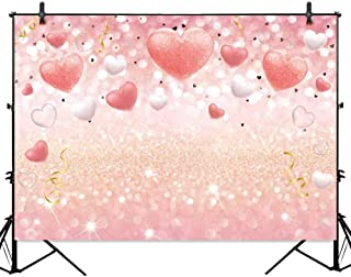 Allenjoy Rose Gold Pink Love Heart Glitter Bokeh Photography Backdrop 7x5ft Girl Birthday Party Banner Baby Bridal Shower Bachelorette Valentine's Day Photography Background Photo Studio Props