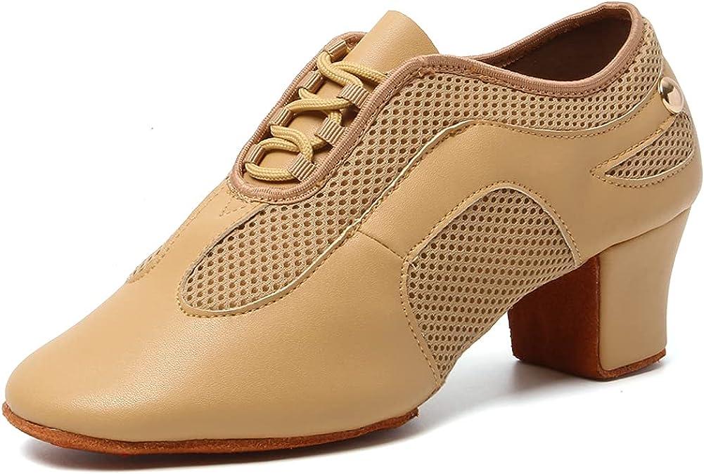 VCIXXVCE Women's Lace up Ballroom Latin Dance Practice Shoes Clo