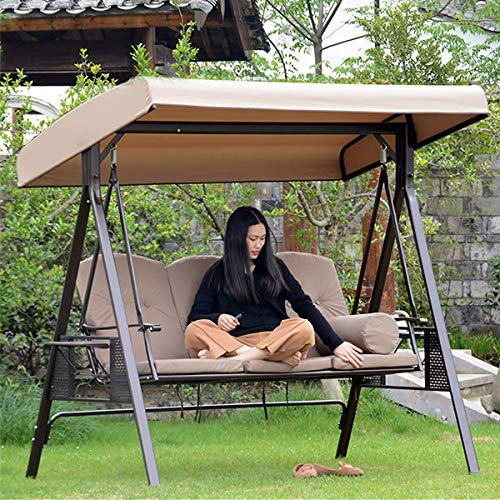 Garden Seater Sun Shade Treasures Porch Swing Hammock Protector Furniture Cover, Swing Canopy Replacement Top Cover, Waterproof Swing Canopy Seat Top Cover (Beige)
