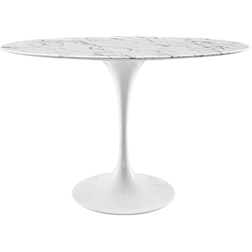 Modway Lippa 48 Oval Shaped Mid Century Modern Dining Table With Artificial Marble Top And White Base Tables