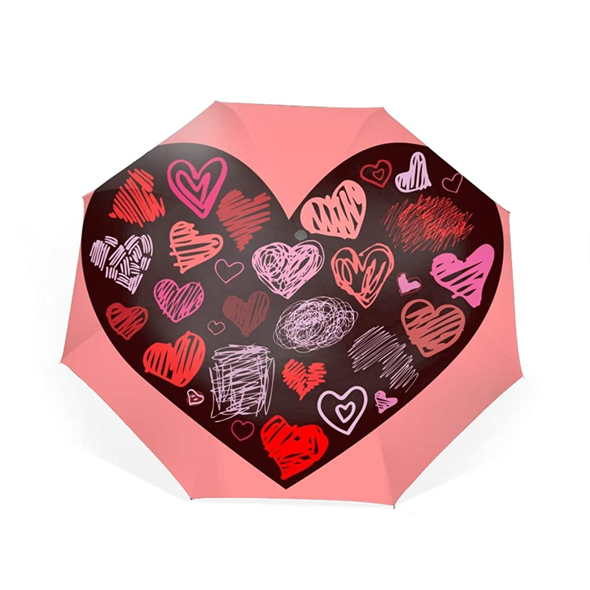 夜の動物園南アメリカ不合格ハートデザイン要素自動開閉折り畳み傘 2重構造 耐風撥水8本骨 男女兼用 丈夫 大型 大きな傘 梅雨対策 収納ポーチ付き
