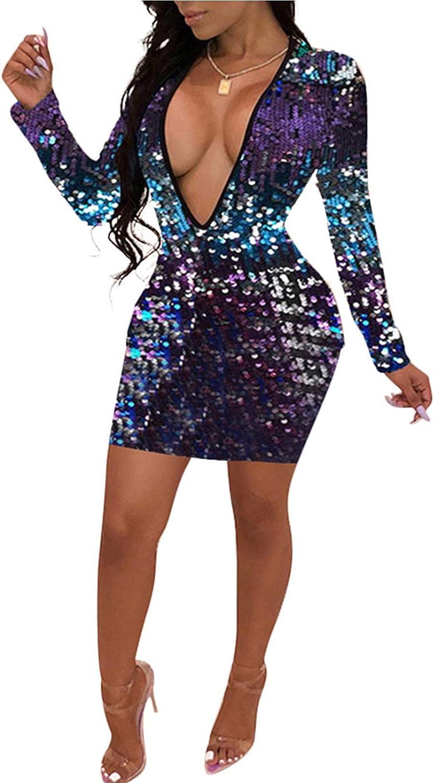 Womens Mini Dresses Sexy Sequin Deep V Neck Long Sleeve Bodycon Party Club Dress