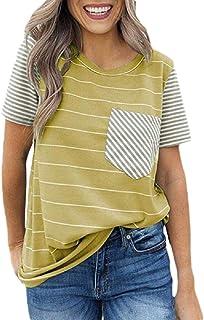 Gocgt Women's Tops Summer Striped Short Sleeve Contrast Color Casual T-Shirt