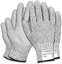 Fortem Cut Resistant Work Gloves, 4 Gloves, Level 5 Protection, Food Grade, EN388 Certified, Protective, Durable Grip PU Coated Palm (Small)