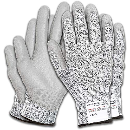 FORTEM Cut Resistant Work Gloves, 4 Gloves, Level 5 Protection, Food Grade, EN388 Certified, Protective, Flexible, Durable Grip PU Coated Palm (EXTRA LARGE)