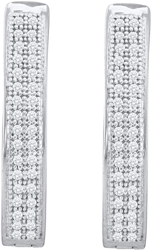 10kt White Gold Ranking TOP12 Womens Round Spring new work Diamond Row Hoop 1 Earrings Double