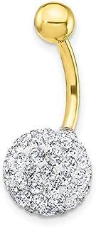 Piercing pour nombril zircons or jaune 18 carats
