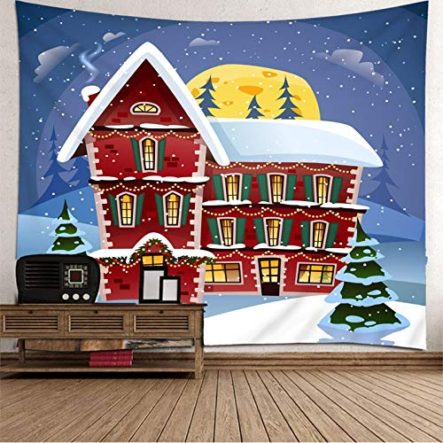 Dreamdge Papel Pintado Tapiz Casa de Dibujos Animados de Árbol de Navidad, Tapiz de Navidad 210x140