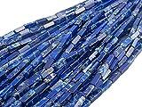 Beads Ok, Abalorios Cuentas Piedra Semipreciosa Jaspe Imperial Azul Lapis Teñido Cuadrilátero Prisma 4x4x13mm ~40cm un Tira, Vendido por Tira. Quardrilateral Prism Lapis Blue Imperial Jasper Beads.