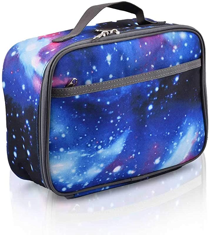 Lunch Box For Girls Boys Kids Soft Sided Compartments Cool Galaxy Style Lunch Bag Insulated Food Safe 10 63in X 8 08in X 4 13in Purple
