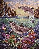 Conjunto de bordado de tapicería'Dolphin' Conjunto de bordado de medio punto de cruz de 23x30cm.Incluyendo hilo de algodón multicapa cod.470