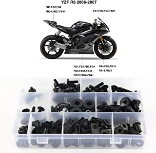 Xitomer Full Sets Fairing Bolts Kits, for Yamaha YZF-R6 2006 2007, Mounting Kits Washers/Nuts/Fastenings/Clips/Grommets (Matte Black)